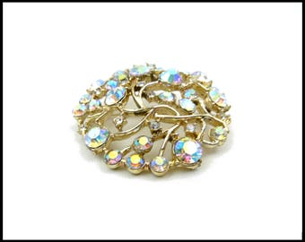 Aurora Borealis Rhinestone Brooch, Gold Filigree, Clear & AB Rhinestones, AB Rhinestone Brooch, Runway Size, Mothers Day Gift For Her