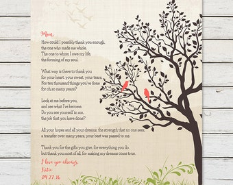 GIFT FOR MOM from Daughter, Printable Mom Poem, Mom Birthday Gift, Gift for Mother, Thank you Mom, 8 x 10 Digital Printable, Print at Home