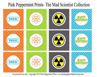 NEW INSTANT DOWNLOAD Printable Party Circles- The Scientist Birthday Party Printable Collection 2 inch party circles