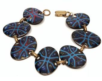 Red Blue Enamel Link Bracelet, Mid Century, 8 inches
