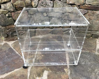 Lucite Rolling Table Bookcase