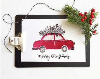 Greeting Card *DIGITAL PRINT* Merry Christmas, Red/Black Car