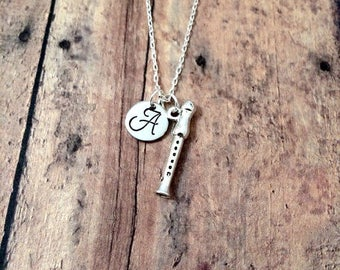 Recorder initial necklace - recorder jewelry, gift for music teacher, music necklace, instrument jewelry, silver recorder necklace