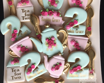 High Tea Party Birthday Engagement Cookies with Gold Accents