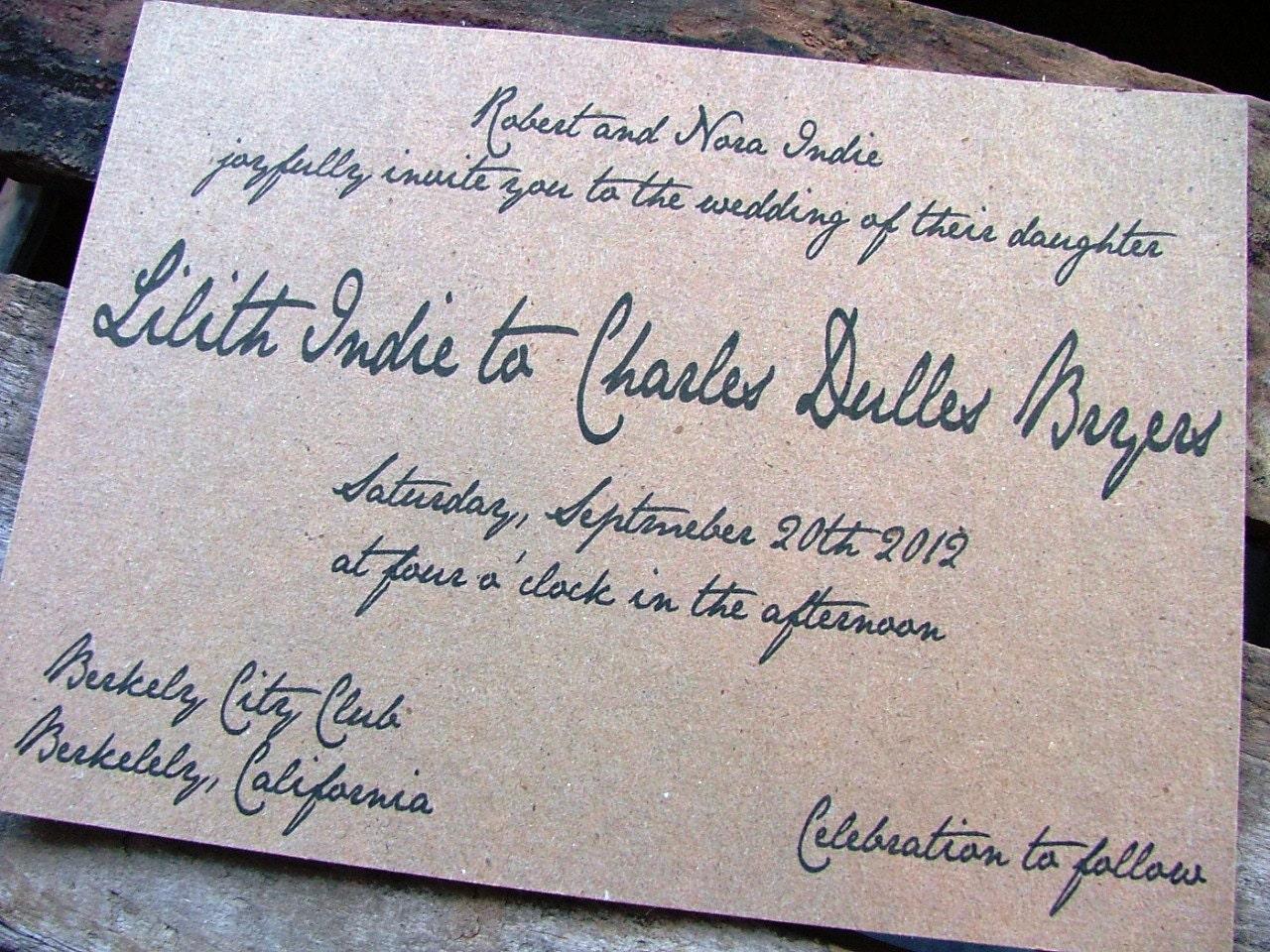 wedding invitations handwritten wedding invitation vintage handwritten