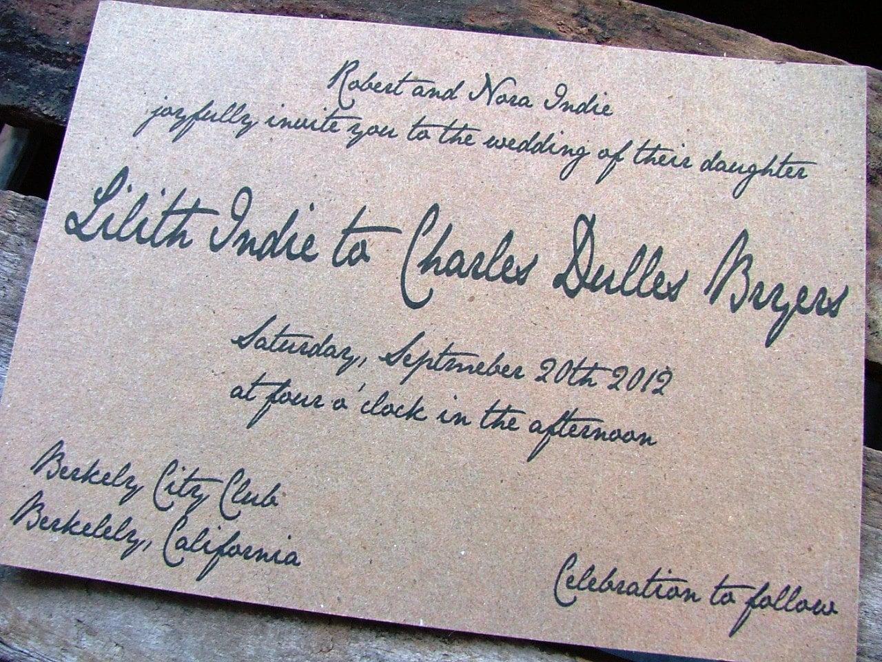 wedding invitations handwritten wedding invitation vintage