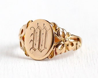 Antique Signet Ring - Initial M Art Nouveau 10k Rosy Yellow Gold Oval Band - Vintage Edwardian 1900s Size 8 1/2 Fine Clover Jewelry