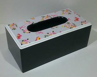 Cancer Awareness Tissue Box Holder - Tissue Box - Pink Ribbon - Cancer Awareness Bathroom - Bathroom Tissue Box - Bedroom Tissue Holder