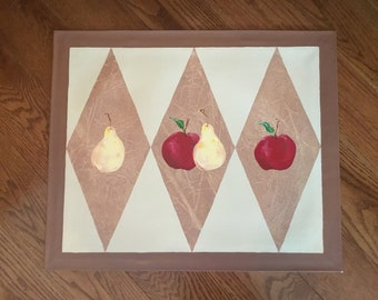 Harlequin Apples and Pears , Brown Border
