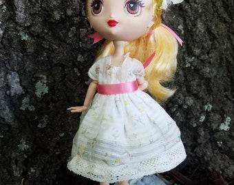 Vintage Lolita Natural Kei doll dress for Kuu Kuu Harajuku, Monster High and Ever After High