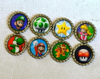 Super Mario Brothers Magnets- Mario & Luigi Bottlecap Magnets- Video Game- Nintendo- Gamer Gift- Mario Brothers Birthday Party- 80s Game