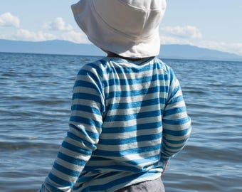 Pure Merino Wool Shirt Long Sleeved - Blue and Light Blue Stripes / Kid Toddler Child Base Layer