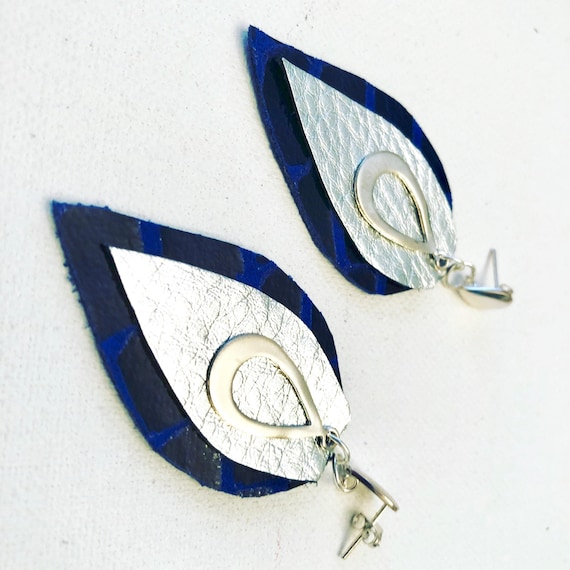 Leather Cobalt & Silver Leather Earrings