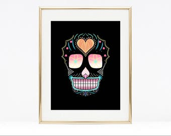 Sugar skull art, skull art, art print, wall art, abstract skull, Halloween art, Dia de los muertos, home decor, abstract art print, A4 print