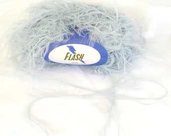 Flash 990, Plymouth Yarn, pale blue, lashes, feathery, novelty yarn, destash