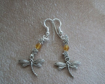 Dragonfly Earrings, Silver and Crystals, Spirit Jewelry, 5 Birthstone colors,  by Brendas Beading on Etsy