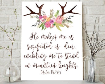 Psalm 18:33, He Makes Me Surefooted As A Deer, Scripture Print, Christian Wall Art, Christian Printable, Bible Verse Art, Scripture Wall Art