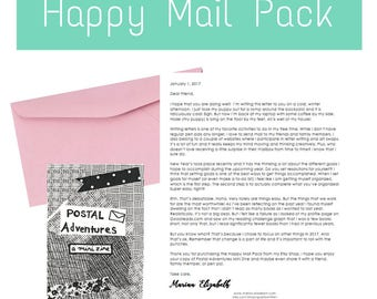 Happy Mail Pack: A piece of mail art, a pen pal letter, and a Postal Adventures Mini Zine to inspire creativity, writing, and letter writing