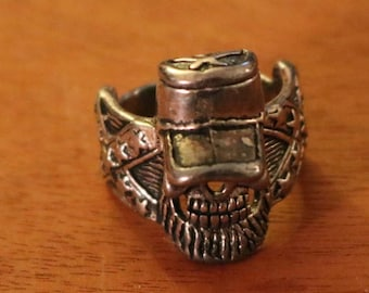 New Confederate Soldier Rhodium Ring Sz 10