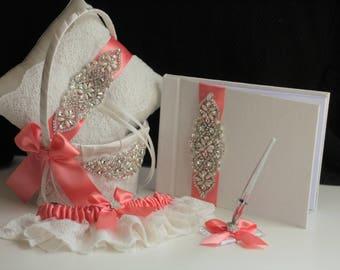 Coral Ring Pillow, Coral Wedding Accessories, Coral Wedding Basket, Wedding Decor, Coral Flower Girl Basket, Ring Bearer Pillow Basket Set