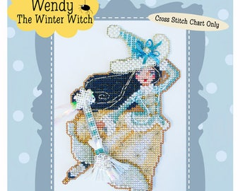 Brooke's Books Wendy The Winter Witchie-poo Ornament INSTANT DOWNLOAD Cross Stitch Chart