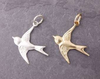 Flying Bird Charm, add on charm, gold bird charm, silver bird charm, silver flying bird, gold flying bird, gold filled, sterling silver