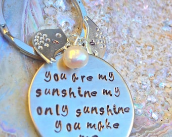 keychain, personalized gifts, you are my sunshine my only only sunshine, mother daughter keychain, father daughter keychain, na