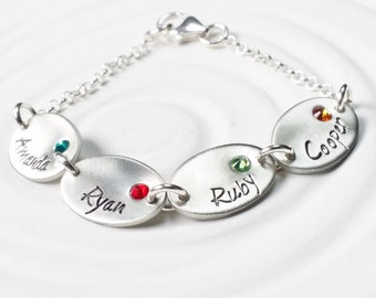 Oval Name Bracelet - Personalized Hand Stamped Charm Bracelet - Name and Birthstone Mother's or Grandmother's Bracelet - Mother's Day Gift