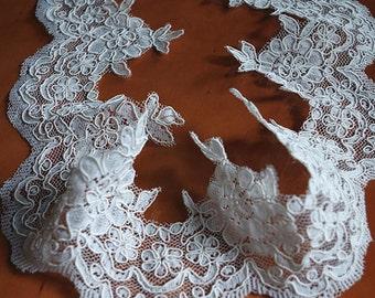 ivory Lace Trim, bridal lace, alencon lace, wedding trim lace, scalloped lace trim for bridal veil