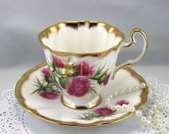 Adderley Teacup & Saucer,Floral Pattern, Gilded Edges, Bone English China made in 1970s