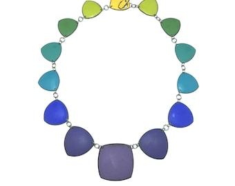 Rainbow Chakra Necklace no 6 color wheel enamel gradient purple upper chakras