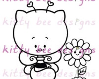 Kitty Bee Digi Stamp