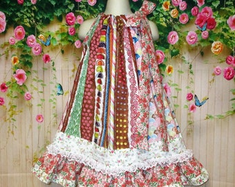 Girls 4T/5 Dress, Candy Stripes, Flowers Pillowcase Dress, Pillow Case Dress, Sundress, Boutique Dress