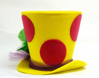 Polka Dots Top Hat,  Polka Dots Party decoration, top hat, Mad Hatter party hat.
