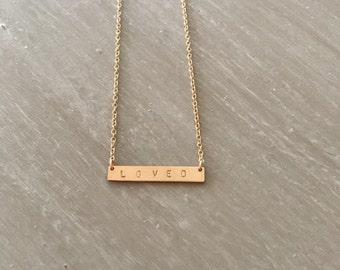 LOVED -- 14kgf Tiny Thin Horizontal Bar Necklace