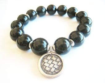 black obsidian bracelet stretch bracelet mens womens bracelet stacking bracelet gumball unisex style layering gift idea for him gift for her