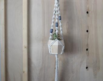 Beaded Macrame Plant Hanger -- macrame plant holder - blue wooden beads - hand dyed beads - modern macrame - plant lady gift - bohemian-boho