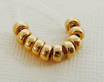 14kt Gold Filled Bead,  4mm Rondel Spacer, 10 beading supplies