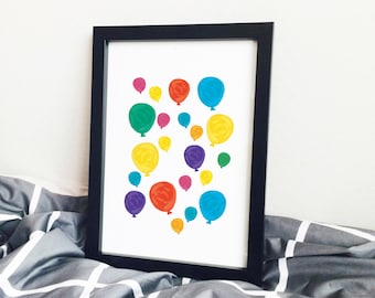 Balloons Mix, Gouache, Painting, illustration, pen drawing, ink, printable artwork, art, Poster, Print, Art, Balloon Print