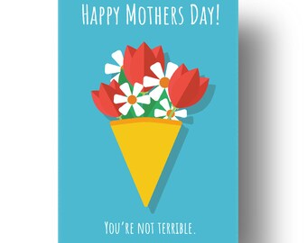 You're Not Terrible Funny Confusing Awkward Rude Mothers Day Card