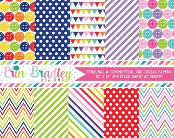 80% OFF SALE Cute as a Button Digital Backgrounds Printable Digital Paper Pack Instant Download with Polka Dots Stripes & Chevron Patterns