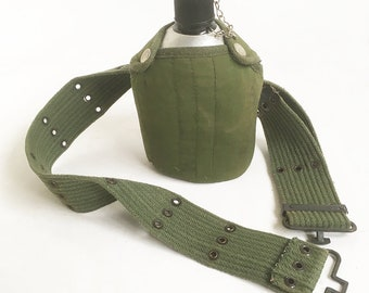 Vintage Military Style Canteen with Pouch and Belt
