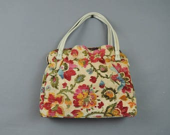 Vintage Floral Needlepoint Purse, Large Tapestry Bag with Vinyl Handles