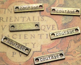 20pcs bronze tone Rectangle courage Charms pendants - courage Tag Charm Connector 6x23mm ASD1361