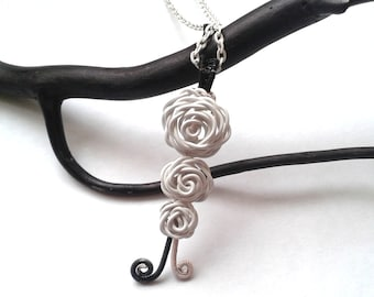 Roses Necklace, Wire Wrapped White Roses Pendant, Handmade Nature Inspired Jewelry, Wire Wrapped Jewellery, Wedding Jewellery, OOAK