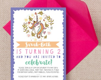 Filles personnalisé licornes magiques cartes Invitation fête d'anniversaire