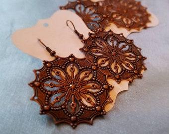 Round Copper Medallion Earrings