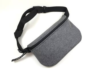 grey wool fanny pack , belly bag, wool bum bag , bumbag, small bag, wool bag, wool purse , small bag , fanny pack, hands free bag , grey bag