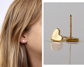 Heart stud earrings , Gold plated brass,  NICKEL FREE, The Surface is not SMOOTH , Mother's day gift, under 20