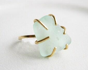 Seafoam Green Sea Glass Ring - Brass Claw Setting - Chesapeake Bay Genuine Seaglass - Beach Glass Jewelry - Coke Bottle Green